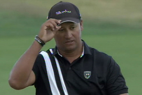 Michael Campbell tips his hat after some good form in the Portugal Open