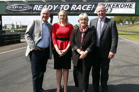 Tony Cochrane, left to right, Jennah Wootten, Penny Hulse and Darryl Butson. V8 Supercars announce Pukekohe Park Raceway as the venue for the New Zealand round of the 2013 V8 Supercar Championship (Photosport)