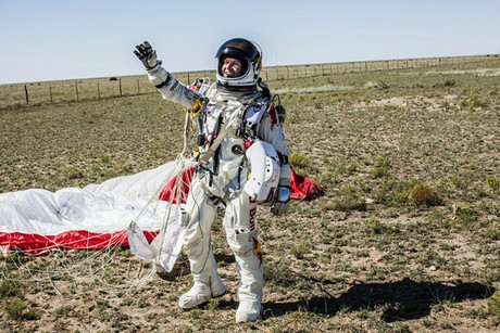 Felix Baumgartner after making a successful landing (Red Bull Stratos)