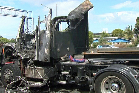 What was left of the truck after the fire