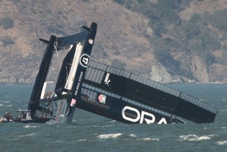 The Oracle AC72 'pitchpoled' (Chris Ray, Americas Cup Media)