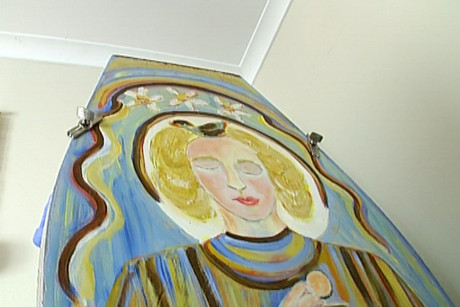 Mary Wait painted a self-portrait on her coffin