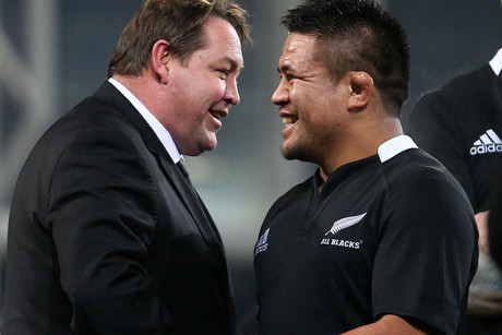 All Blacks hooker Keven Mealamu, right, with coach Steve Hansen (Photosport file)