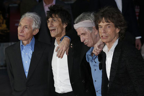 Rolling Stones members (from left) Charlie Watts, Ronnie Wood, Keith Richards and Mick Jagger at the premiere (Reuters)