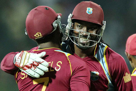 Chris Gayle celebrates after beating the BlackCasp in a Super Over (Photosport)