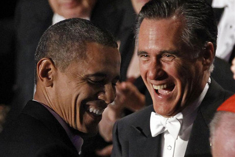 Romney and Obama share a laugh at the Alfred E Smith Memorial Foundation dinner (Reuters)