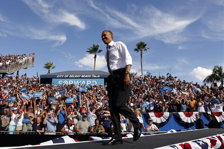 US President Barack Obama arrives at a campaign rally in Delray, Florida