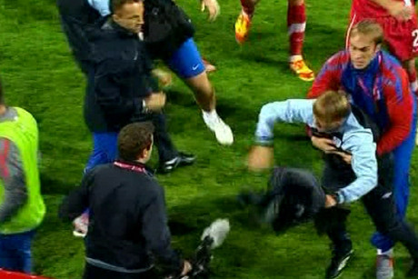 Players and officials were restrained during the fracas