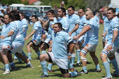 East Coast players perform a haka before the game begins (Photosport)