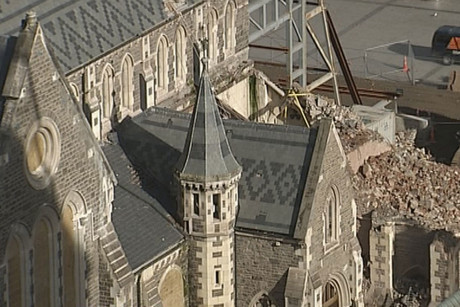 The partially demolished Christchurch Cathedral