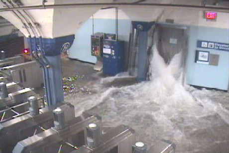 Flood waters rush in through an elevator shaft at the Hoboken train station (Photo: Twitter / @PANYNJ)