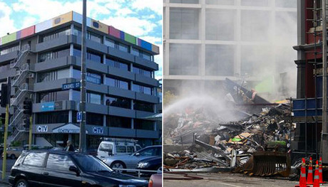 The CTV building before and after the February 2011 quake 