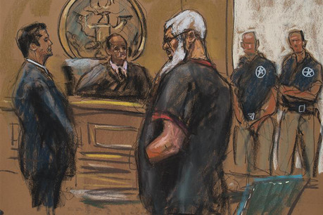 A courtroom sketch shows al-Masri appearing in court  (Reuters)