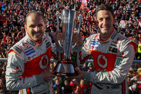 Jamie Whincup, right, and semi-retired co-driver Paul Dumbrell take top honours at Bathurst (NZN)