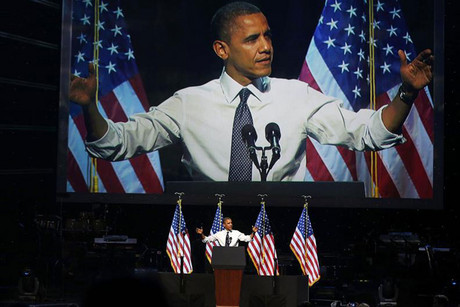 US President Barack Obama speaks at a campaign event at the Nokia Theater in Los Angeles (Reuters/Larry Downing)