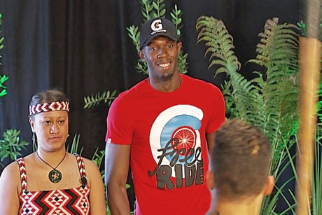 Usain Bolt during his traditional Maori welcome
