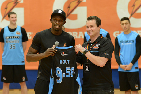 Usain Bolt and Breakers chief executive Richard Clarke (Photosport)