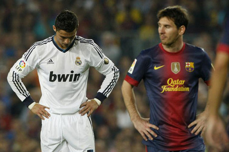 Lionel Messi (left) and Cristiano Ronald on October 7 (Reuters)