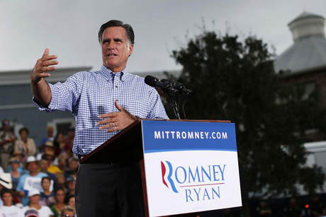 Republican presidential nominee Mitt Romney speaks during a campaign rally in Port St. Lucie (Reuters)