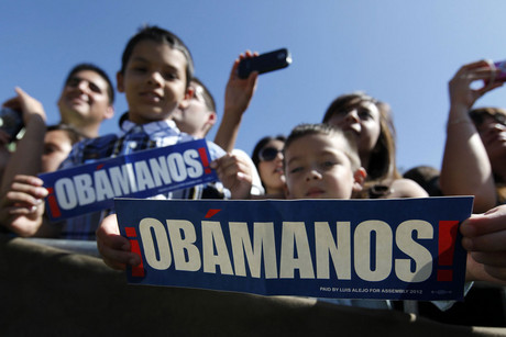 Supporters listen to US President Barack Obama speak at the Cesar E. Chavez National Monument in Keene, California, as part of his three day campaign swing in California and Ohio (Reuters/Larry Downing)