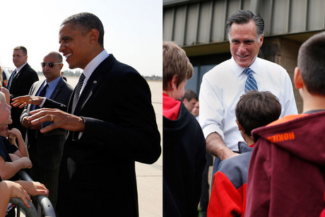 Barack Obama greets supporters as he arrives at Meadows Field Airport in Bakersfield, and Mitt Romney shakes hands with students from Fairfield Elementary School in Fairfield, Virginia (Reuters)