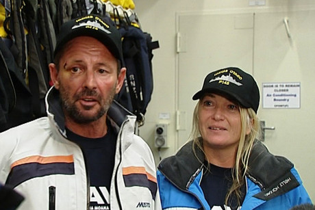Steve Jones and Tania Davies spent two days clinging to their stricken yacht in the middle of the Pacific Ocean before help came