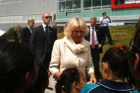 Camilla, Duchess of Cornwall greets children at the Millennium Institute of Sport on Auckland's North Shore (Photo: Jane Luscombe / 3 News)