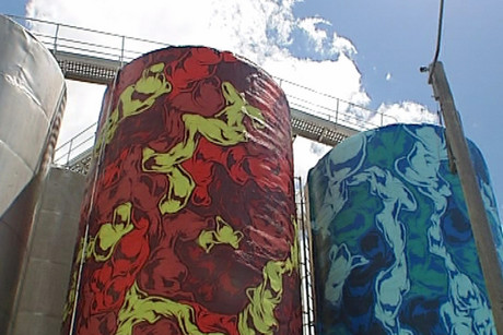 The colourful designs tower into the air over Wynyard Quarter