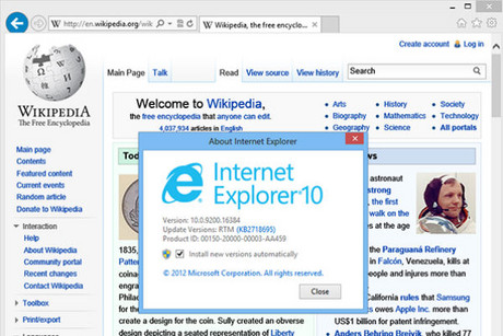 Shot of IE10 showing Wikipedia