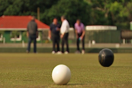 Men enjoy a midweek game at the Auckland Bowls Club