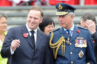 Prime Minister John Key (L), with Britain's Prince Charles at the Armistice Day Service in Auckland (AAP)