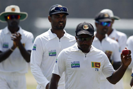 Sri Lanka's Herath celebrates taking five wickets (Reuters)