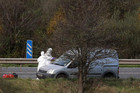 Forensic officers search the scene on the M1 motorway in Northern Ireland where David Black was shot  (Reuters)