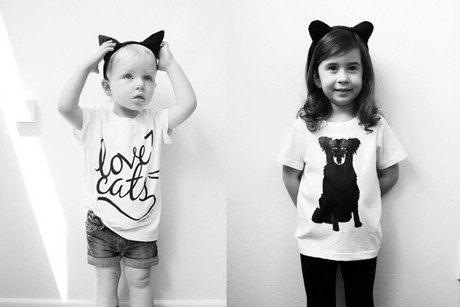 The Meadowlark cat t-shirts (left) and the Cybele dog t-shirts are available for adults and children