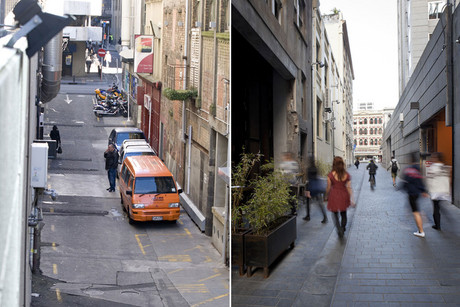 Fort Lane before and after it was made into a shared space