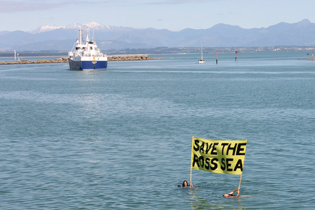 Protestors get in the water in Nelson Port for their cause (Supplied)