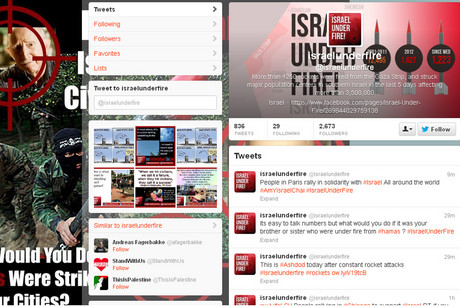 The 'Israel Under Fire' Twitter page