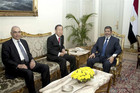 Egypt's President Mohamed Mursi, Egypt's Foreign Minister Mohamed Kamel Amr and UN Secretary-General Ban Ki-moon (Reuters)