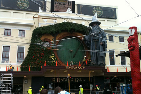 A giant Gandalf stands on top of the Embassy Theatre in Wellington
