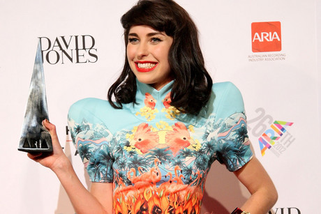 Kimbra with her second Best Female Artist ARIA award (AAP)