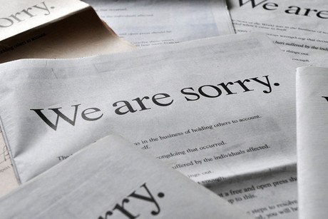 UK national newspapers run full page apology adverts in London, Britain, 16 July 2011 (AAP)