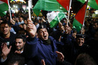 A Palestinian man shouts slogans during a rally in the West Bank city of Ramallah (Reuters/Marko Djurica)