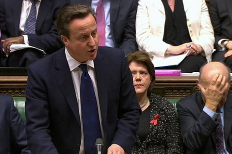Britain's Prime Minister David Cameron, flanked by Deputy Prime Minister Nick Clegg (L), Culture Secretary Maria Miller (2ndR) and Business Secretary Vince Cable (R), speaks about Lord Justice Brian Leveson's report on media practices in parliament (Reuters)