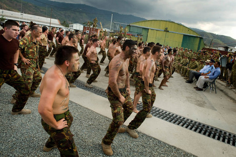 New Zealand troops perform a haka in Timor-Leste (Photo: Brook Sabin/3 News)