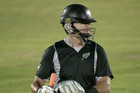 Ross Taylor fails to catch his own bat and gets hit in the helmet
