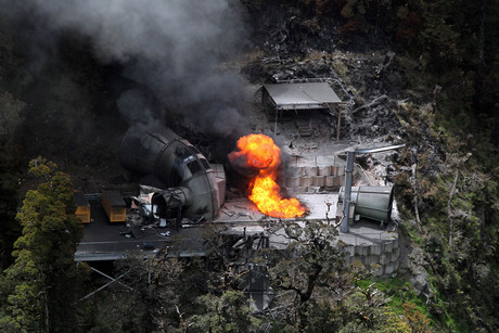 Flames burn from a ventilation shaft above the Pike River mine which fatally trapped 29 miners and contractors (AAP)