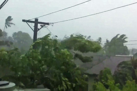 Winds of 160kmph and a four metre-high storm surge hit the capital of Apia yesterday