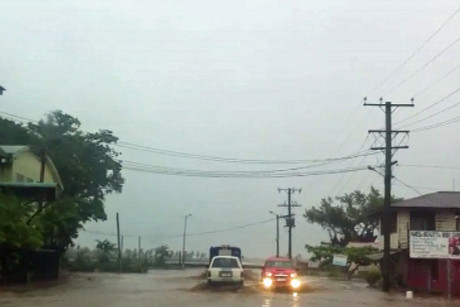 Streets were flooded in Apia by the cyclone