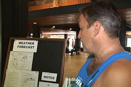 Those staying put are watching where the cyclone is tracking, with regular updates on the hotel message board