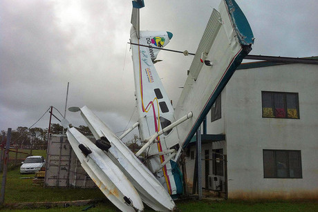 A seaplane found smashed into a hangar in Fiji (Photo: Hamish Clark / 3 News)